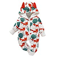 Borlai Newborn Baby Jumpsuit Cute Animal Print Hooded Jumpsuit Cotton Toddler Outfit Playsuit 0-18 Months [Foxes and Forest] White