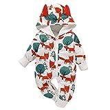 Borlai Baby Overall mit Kapuze und Tiermotiv, Baumwolle, 0-18 Monate [Füchse und Wald] Gr. 6-12 Monate, weiß