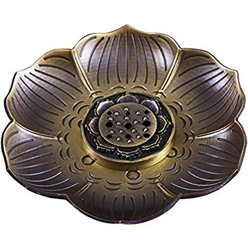 Cdkj portaincenso multiuso bronzo lotus del bruciatore di incenso per incenso coni o bobine di bronzo alta qualità, pratico, che meriti di avere