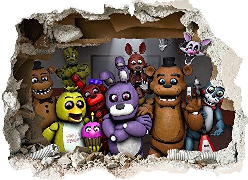 FNAF FIVE NIGHTS AT FREDDYS WALL STICKER - 3D BEDROOM BOYS GIRLS LARGE (55cm X 75cm)