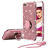 SQMCase Funda iPhone 8 Plus, Funda iPhone 7 Plus, Glitter Diamond TPU Suave con 360 Grados de rotación Anillo de Dedo Metal Grip Kickstand + Neck Lanyard para iPhone 8/7 Plus (Oro Rosa)