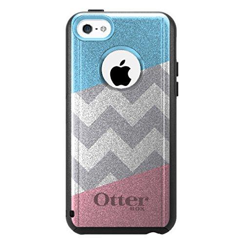 DistinctInk Fall für iPhone 5C Otterbox Commuter Gewohnheits-Fall Rosa Blauer Block-Grauer Zickzack auf Schwarz-Fall (5c Fällen Otter Box Blau)