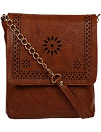 Zapatoz Women's Plain Brown Leatherite Sling Bag (Sling-F1-chain-Brown)