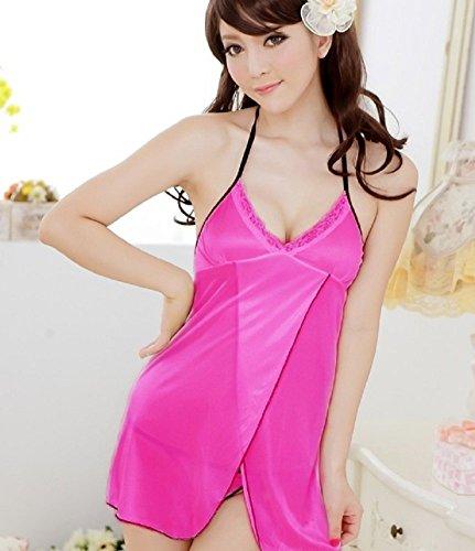 Shangrui Femmes Halter Pyjamas Dentelle Backless Pyjamas un Peignoir Transparent Cool W384 Rose