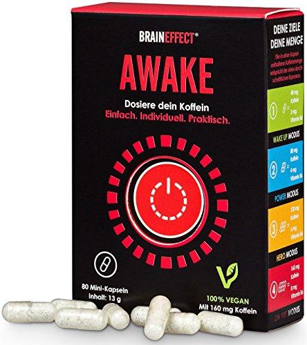 BRAINEFFECT AWAKE - Upgraded Koffeintabletten - 80 Kapseln - Individuell Dosierbarer Wachmacher - Gegen Müdigkeit und Erschöpfung - Bis zu 160mg Koffein, 240mg L-Theanin und 8mg Vitamin B6 - Vegan