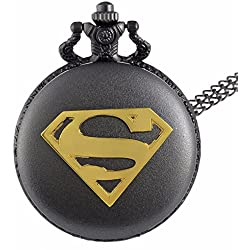 "SUPERMAN Gold Logo Black Finish Antiqued/Vintage Case Men's Quartz Pocket Watch Necklace - On 32"" Inch / 80cm Chain"