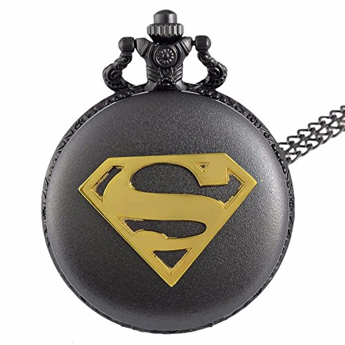 Superman Gold Logo Schwarz Finish antik/Vintage Case Herren Quarz-Taschenuhr Halskette-auf 81,3cm Zoll/80cm Kette Superman-fall