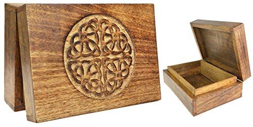 Piquaboo Sólido Madera Celtic Nudo Caja de Tarot Tallada de 18x 13cm