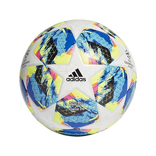 adidas Jungen Finale TT J290 Turnierbälle für Fußball, top:White/Bright Cyan Yellow/Shock pink Bottom:Collegiate royal/Black/solar orange, 4 -