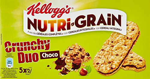 Kellogg's Biscuits Petit Déjeuner Nutri-Grain Crunchy Duo Choco 5 x 40 g - Lot de 4