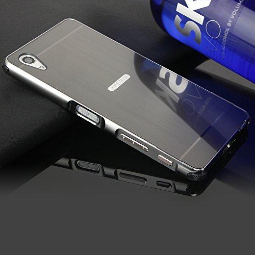 Hülle für Sony Xperia X Performance Matt,BtDuck Weich Silikon Eckenschutz Aluminum Überzug Metal Mirror Back Case Matt Schutzhülle Slim Handyhülle Mirror Spiegelnd Make Up Schutzhülle Schwarz