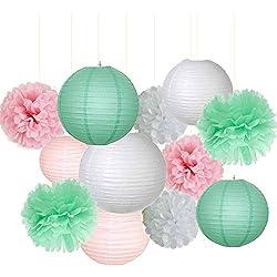12 unidades de decoración para boda. Colores: Rosa, Menta Verde y blanco.