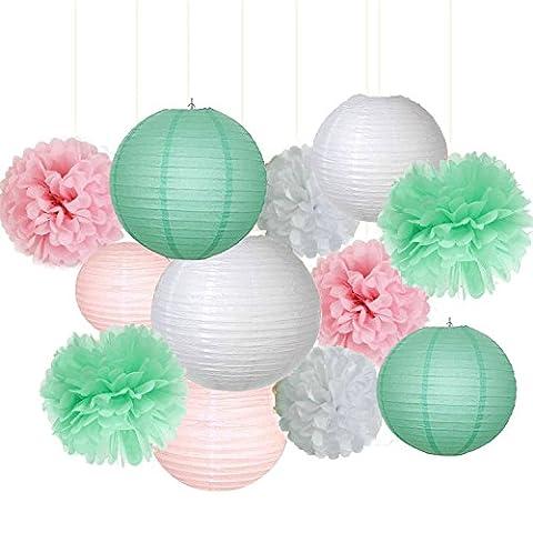 12pcs mixtes papier de soie Rose Vert menthe Blanc Fleur à suspendre Lanterne en papier Boule Pompon Mariage Guirlande anniversaire Baby Shower Décoration dragées