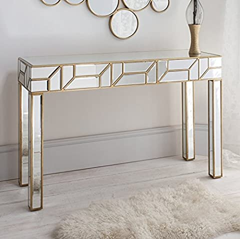 Stunning Venetian Mirrored Console Table Large Modern Contemporary Bedroom Living Room Side Rectangle Furniture Bevelled Glass Hallway Hall Dressing Gold Vintage Shabby Chic Finish Display Unit*****FREE FAST DELIVERY*****