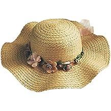 Minetom Donna Moda Estate Parent-child Spiaggia Fiori Tesa Larga Pieghevole  Cappello Della Benna Cappello e851e91ed231