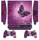 Skin Sticker für PS3 / PlayStation 3 DualShock 3 / Custom Cover Cases Modding Game Sixaxis Vinyl Skins für Sony Play Station 3 Slim Konsole, 2 Fernbedienungen, Lavendel Schmetterling