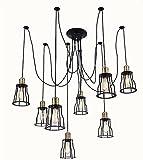 icase4u® Loft Retro Industrie-Stil E27 Kronleuchter, Vintage Pendelleuchten Spinne lampe Hängelampe, DIY Höhenverstellbar [Energieklasse A+] (8 Flammige)