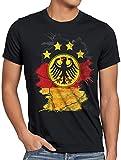 style3 Deutschland Wappen Herren T-Shirt Fußball Weltmeisterschaft Trikot Germany Bundes-Adler WM EM, Größe:XL, Farbe:Schwarz