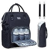 Baby Wickeltasche Wickelrucksack mit Kinderwagenhaken Multifunktional Nylon Große Kapazität Babytasche Reiserucksack für Unterwegs mit vielen Fächern (Schwarz)