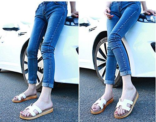 Minetom Donna Estate Casuale Pantofole Piatto Tacco Piattaforma Scarpe Moda Sandali Spiaggia Sandals Morbido Suola Bianco