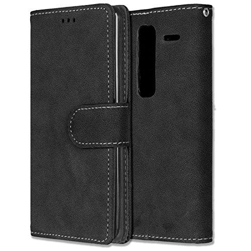 LG Zero / Class / H740 Hülle, Chreey Matt Leder Tasche Retro Handyhülle Magnet Flip Case mit Kartenfach Geldbörse Schutzhülle Etui [Schwarz]