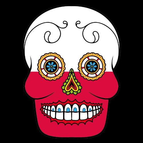 T-Shirt - Polen - Sugar Skull - Fahne - Herren - unisex Schwarz