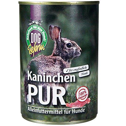 Schecker Dogreform Kaninchen PUR Gr: 6 x 410g getreidefrei glutenfrei aus frischem Fleisch und wertvollen Innereien wie Leber Lunge Magen (Kaninchen Hundefutter)