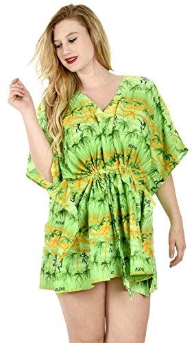 La-Leela-vestido-de-playa-de-Hawaii-playa-corta-suaves-Mujeres-likre-aloha-encubrir-verde