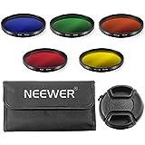 Neewer 52mm Kit de Filtre de Couleur pour NIKON D7100 D7000 D5200 D5100 D5000 D3300 D3200 D3000 D90 D80 DSLR Caméras, Kit Comprend: (5) 52mm Filtres de Couleur (Bleu/Jaune/Orange/Rouge/Vert) + (1) 52mm Bouchon d'Objectif Pincée de Centre avec Cap Gardien Laisse + (1) Filtre Transport Pouch