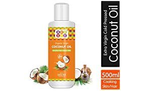 Bey Bee Edible Organic Extra Virgin Coconut Oil for Cooking, Hair & Skin - 500 ml