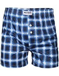 KRISP Men's 2 Pack Boxer Shorts Checked Classic Winter Briefs