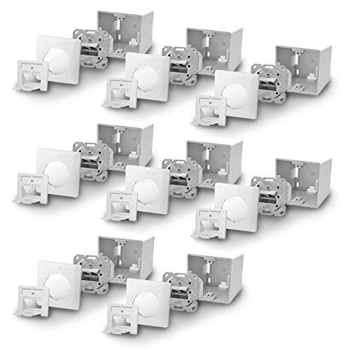Port-cat5-patch-panel (ARLI Cat6a Netzwerkdose 8x Netzwerk Dose Kombi mit 2x RJ45 Port Datendose Cat 6 a voll geschirmt Metalldurchgussgehäuse Aufputz / Unterputz 8 Stück Ethernet Cat7)