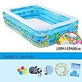 Blau Baby Aufblasbare Pool 3 Ringe Rechteck Familie Sehr Große Planschbecken 180 * 145 * 60 cm (...