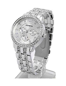 Contever® Unisex/ Damen/Männer Bling Stainless Steel Quarz Armbanduhr Wrist Watch -- Silber