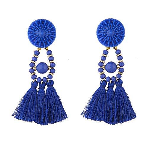 LZMSDX ethnische Aussage schwarz Quasten Ohrring für Frauen Vintage Lange Fransen Tropfen Ohrring Perlen Schmuck große Ohrringe A65-A68 Borland