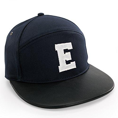 Preisvergleich Produktbild Damen Herren Unisex Snap Back Mütze Leder Spitze Kappe Alphabet A-Z Leather Cap Baseball (E)