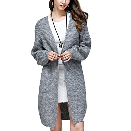 Desshok Cardigan en Tricot pour Femmes Manche Longue Chunky Pull Longue Veste en Tricot Manteau Vêtements d'extérieur Gris
