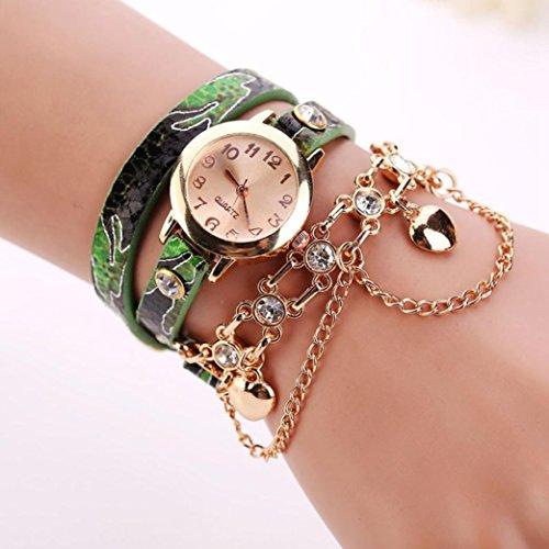 HUIHUI Uhren Damen, Geflochten Armbanduhren Günstige Uhren Wasserdicht Casual Strass Rivet Kette Quarz Armband Armbanduhr Armband Coole Uhren Lederarmband Mädchen Frau Uhr (C)