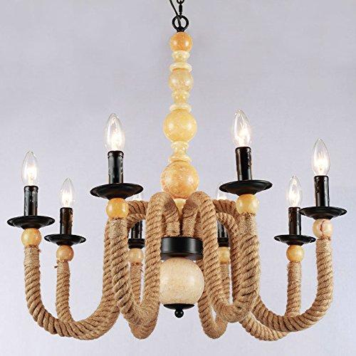 SJUN-Nordico Villaggio Americano Arte Creativa Illuminazione Corda Retro Lampada Lampadario (70 * 72Cm)