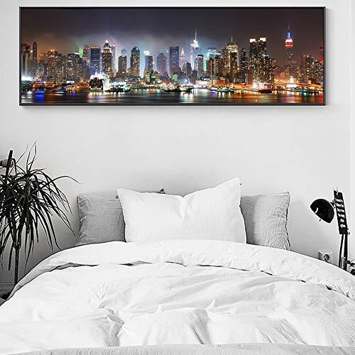 yhyxll Skyline of Manhattan Wall Imágenes Decorativas Paisaje Nocturno de la Ciudad...