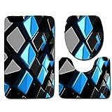 Stuoie del Bagno di Moda, Tappetino da Bagno Tridimensionale 3pcs Set Tappetino da Bagno cubo Nero Blu + Tappetino da Bagno + Set Tappetino a Forma di U.