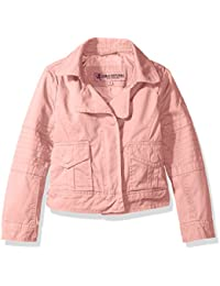 Urban Republic Girls' Cotton Twill Moto Jacket