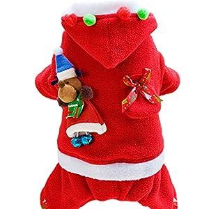 Vetement Chien Noël Manteau Chiot Hiver - Habits Chien Doux Costumes de Fête Petit Pet Pull Xmas Veste Chaude à Capuche Santa Drôle Cosplay