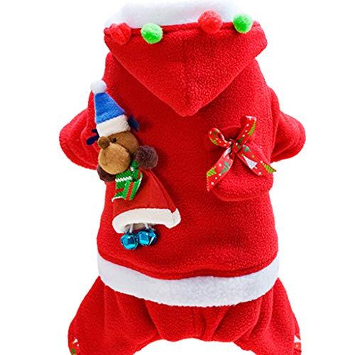 Zilee Hundemantel Weihnachten Hundekostüm Haustier Hundejacke - Winter Warme Kleidung Hunde Pullover mit Kapuze Party Anzüge Baumwolle Weich Xmas Santa Lustiges Cosplay