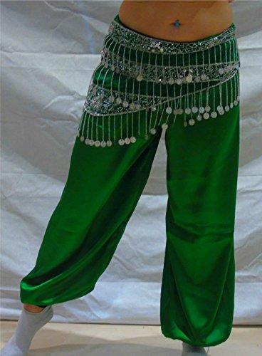 La danza de vientre del Harem Pantalones para yoga baile tribal del traje del bailarín de Nuevo M L XL XXL (verde)