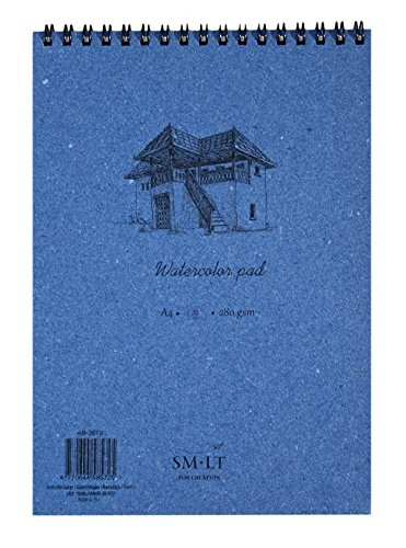 SM.LT AB-35TS Authentic line A4 Aquarellblock, natural weiß Papier, 280 gsm, 35 Seiten, blau