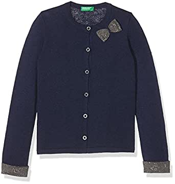 United Colors of Benetton L/S Sweater, Cardigan Bambina, Blu (Dark Blue 35e), 1-2 anni (taglia produttore: 82)