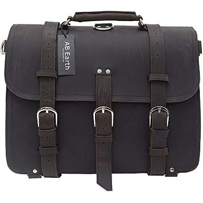 AB Earth Men Briefcase Laptop Bag Handbag Travel Bag, M71 (Dark Brown)