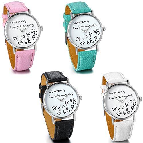 JewelryWe 4pcs Set Damen Mädchen Armbanduhr, whatever i'm late anyway Liebhaber Geschenk Analog Quarz Leder Armband Uhr mit Weißem Zifferblatt, 4 Farben