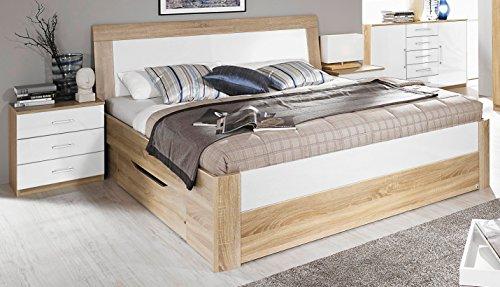 Rauch Bett mit 2 Schubkästen Eiche Sonoma/Hochglanz weiß 180 x 200 cm